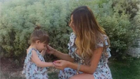 Cuteness overload! Sexy Mama Constantina Evripidou in a matching mother – daughter Gregory Morfi creation